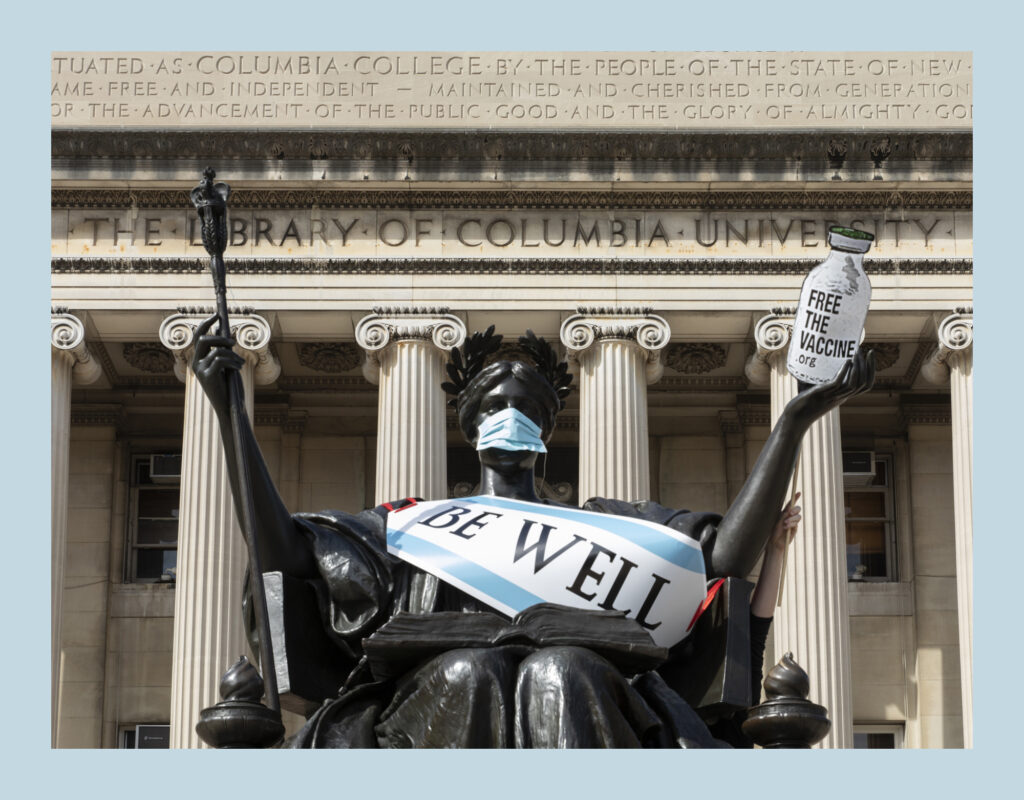 Columbia's Alma Mater Statue Dons Surgical Mask for an Accessible COVID-19 Vaccine
