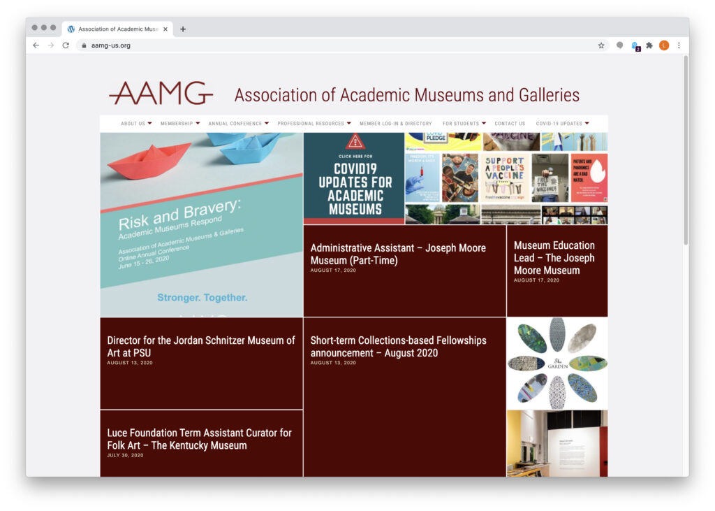 Association of Academic Museums and Galleries home page